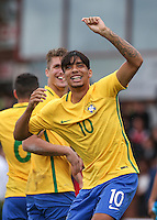Lucas Paqueta of Brazil celebrates the win during the International match between England U20 and Brazil U20 at the Aggborough Stadium, Kidderminster, England on 4 September 2016. Photo by Andy Rowland / PRiME Media Images.