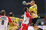 Bremen, 09.08.15, Sport, Handball, Erima-Cup 2015, Finale, SG Flensburg-Handewitt-Rhein-Neckar L&ouml;wen : Anspiel von Stefan Kneer (Rhein-Neckar L&ouml;wen #04) an Rafael Baena Gonzales (Rhein-Neckar L&ouml;wen #16)<br /> <br /> Foto &copy; P-I-X.org *** Foto ist honorarpflichtig! *** Auf Anfrage in hoeherer Qualitaet/Aufloesung. Belegexemplar erbeten. Veroeffentlichung ausschliesslich fuer journalistisch-publizistische Zwecke. For editorial use only.