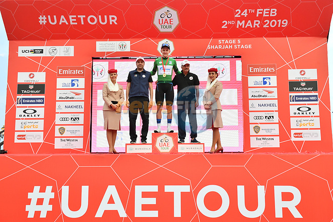 Stepan Kuriyanov (RUS) Gazprom–Rusvelo retains the Green Jersey at the end of Stage 5 of the 2019 UAE Tour, running 181km form Sharjah to Khor Fakkan, Dubai, United Arab Emirates. 28th February 2019.<br /> Picture: LaPresse/Massimo Paolone | Cyclefile<br /> <br /> <br /> All photos usage must carry mandatory copyright credit (© Cyclefile | LaPresse/Massimo Paolone)