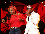 Paulette Ivory & Sahr Ngaujah.during the opening night Curtain Call for the Broadway limited engagement of 'Fela!' at the Al Hirschfeld Theatre on July 12, 2012 in New York City.