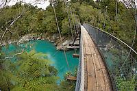 Swing Bridge, Hokitika Gorge, West Coast, South Island, New Zealand - stock photo, canvas, fine art print