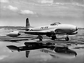 "The Lockheed F-80 Shooting Star was the first United States Air Force (USAF) aircraft to exceed 500 mph in level flight, the first American jet airplane to be manufactured in large quantities and the first USAF jet to be used in combat. Designed in 1943, the XP-80 made its maiden flight on January 8, 1944. Several early P-80s were sent to Europe for demonstration, but World War 2 ended before the aircraft could be employed in combat. (The aircraft was redesignated in 1948 when ""P"" for ""Pursuit"" was changed to ""F"" for ""Fighter."") Of 1,731 F-80s built, 798 were F-80Cs.  Although it was designed as a high-altitude interceptor, the F-80C was used extensively as a fighter-bomber in the Korean War, primarily for low-level rocket, bomb and napalm attacks against ground targets. On November 8, 1950, an F-80C flown by Lt. Russell J. Brown, flying with the 16th Fighter-Interceptor Squadron, shot down a Russian-built MiG-15 in the world's first all-jet fighter air battle. .Credit: U.S. Air Force via CNP"