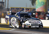 Feb. 22, 2013; Chandler, AZ, USA; NHRA funny car driver Jack Beckman during qualifying for the Arizona Nationals at Firebird International Raceway. Mandatory Credit: Mark J. Rebilas-