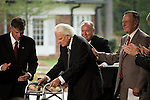 Thursday, May 31, Charlotte, North Carolina. Dedication ceremony for the new Billy Graham Library in Charlotte, North Carolina.. (l to r) Franklin Graham, Billy Graham and George HW Bush.
