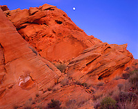 Valley of Fire State Park, NV     <br /> Rising moon &amp; deep red sandstone in Fire Canyon