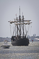 As dozens watched, the floating museum, the Nina, along with the Pinta, veered from the Gulf of Mexico, to sail through Gordon's Pass, down the river and dock at Tin City in Naples, Thursday, March 31. While in port, families can experience history firsthand, by stepping aboard and exploring the ships with self-guided tours every day from 9 am to 6 pm, April 1 through April 10. General admission is $8 for adults, $7 for seniors (age 60 plus), $6 ages 5-16, and kids under 4 are free. The floating museus, considered to be historically accurate, are visiting ports to showcase the 'caravel', the type of Portuguese ship used by Columbus. They are bound for Stuart, Florida, with future stops in Washington DC and Norwich, Connecticut. Photo by Debi Pittman Wilkey/news-press.com.