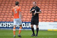 Referee Mark Brown removes his cards to show Blackpool's Clark Robertson<br /> <br /> Photographer Terry Donnelly/CameraSport<br /> <br /> The EFL Sky Bet League Two - Blackpool v Accrington Stanley - Friday 14th April 2017 - Bloomfield Road - Blackpool<br /> <br /> World Copyright &copy; 2017 CameraSport. All rights reserved. 43 Linden Ave. Countesthorpe. Leicester. England. LE8 5PG - Tel: +44 (0) 116 277 4147 - admin@camerasport.com - www.camerasport.com