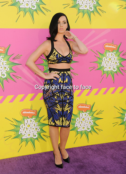 Katy Perry arriving at Nickelodeon's 26th Annual Kids Choice Awards at USC Galen Center on March 23, 2013 in Los Angeles, California..Credit: Mayer/face to face - No USA and Canada -