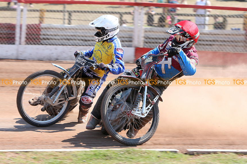 Heat 12: Shields (red) and Gustafsson - Lakeside Hammers vs Eastbourne Eagles - Elite League Speedway at Arena Essex Raceway - 22/04/11 - MANDATORY CREDIT: Gavin Ellis/TGSPHOTO - Self billing applies where appropriate - Tel: 0845 094 6026