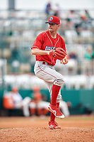 Lakewood BlueClaws relief pitcher Zach Warren (33) delivers a pitch during a game against the Greensboro Grasshoppers on June 10, 2018 at First National Bank Field in Greensboro, North Carolina.  Lakewood defeated Greensboro 2-0.  (Mike Janes/Four Seam Images)