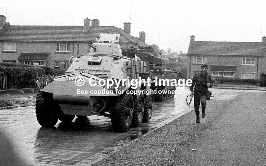 An armoured personnel carrier followed by a Centurian tank trundles through the deserted streets of the Bogside &amp; Creggan areas in Londonderry, N Ireland, during the British Army's Operation Motorman when thousands of soldiers and hundreds of vehicles invaded the area to retake the &quot;no-go areas&quot; controlled by Irish republican paramilitaries. Motorman was the biggest British military operation since the Suez Crisis in 1956. 197207310636a.<br />