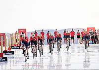 Team Bahrein-Merida at the stage start at the salt lake (factory) in Torrevieja <br /> <br /> Stage 1 (TTT): Salinas de Torrevieja to Torrevieja (13.4km)<br /> La Vuelta 2019<br /> <br /> ©kramon