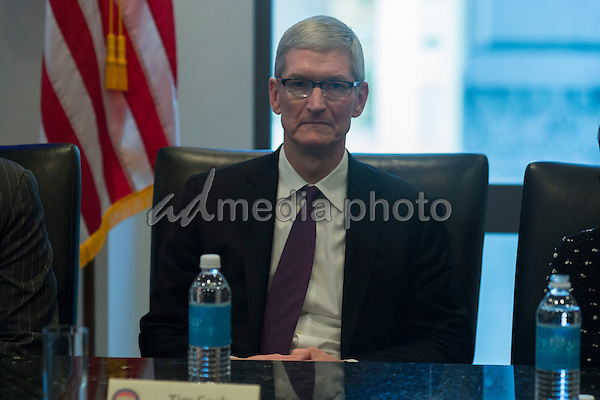 Apple CEO Tim Cook is seen in attendance at a meeting of technology chiefs in the Trump Organization conference room at Trump Tower in New York, NY, USA on December 14, 2016. Photo Credit: Albin Lohr-Jones/CNP/AdMedia