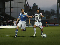 Lewis Guy with a hold of Steven Anderson in the St Mirren v St Johnstone Clydesdale Bank Scottish Premier League match played at St Mirren Park, Paisley on 8.12.12.