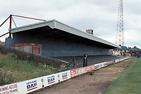 Covered terracing at Doncaster Rovers FC Football Ground, Belle Vue Stadium, Doncaster, South Yorkshire, pictured on 14th July 1991
