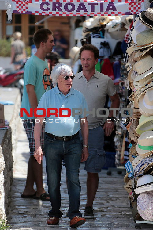 04.08.2013.,Croatia,  Hvar - Formula 1 owner Bernie Ecclestone and his wife Fabiana Flosi strolled around the town of Hvar and had drink with some friends <br />    Foto &not;&copy; nph / Dalibor Urukalovic