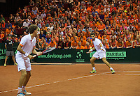 14-sept.-2013,Netherlands, Groningen,  Martini Plaza, Tennis, DavisCup Netherlands-Austria, Doubles,   Jean-Julien Rojer and Robin Haase(L) (NED)<br /> Photo: Henk Koster