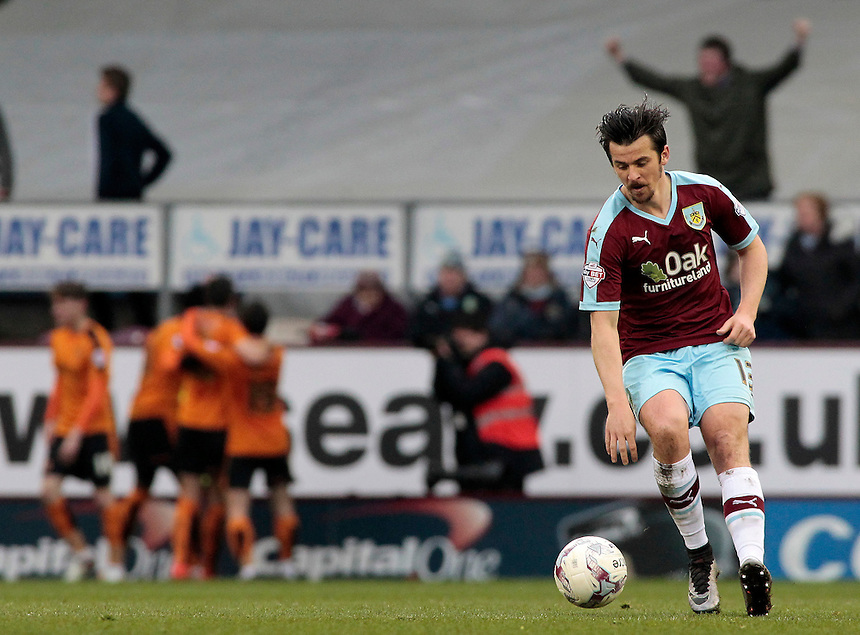 Burnley's Joey Barton tries to get the game moving agin after seeing Wolverhampton Wanderers' Danny Batth make it 1-1<br /> <br /> Photographer David Shipman/CameraSport<br /> <br /> Football - The Football League Sky Bet Championship - Burnley v Wolverhampton Wanderers - Saturday 19th March 2016 - Turf Moor - Burnley<br /> <br /> &copy; CameraSport - 43 Linden Ave. Countesthorpe. Leicester. England. LE8 5PG - Tel: +44 (0) 116 277 4147 - admin@camerasport.com - www.camerasport.com