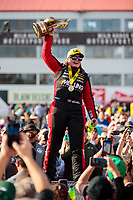 Feb 23, 2020; Chandler, Arizona, USA; NHRA pro stock driver Erica Enders celebrates after winning the Arizona Nationals at Wild Horse Pass Motorsports Park. Mandatory Credit: Mark J. Rebilas-USA TODAY Sports