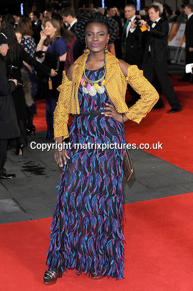 NON EXCLUSIVE PICTURE: PAUL TREADWAY / MATRIXPICTURES.CO.UK<br /> PLEASE CREDIT ALL USES<br /> <br /> WORLD RIGHTS<br /> <br /> English singer Shingai Shoniwa attends the Royal film performance of &quot;Mandela: Long Walk to Freedom&quot; at the Odeon Theatre at Leicester Square in London, England.<br /> <br /> DECEMBER 5th 2013<br /> <br /> REF: PTY 137771