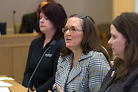 Tami Seegrist McMinn, communications manager from Pasado's Safe Haven addresses the Washington State Senate Law and Justice Committee during the public opinion hearing on bill SB 5501 concerning revisions to the state's animal cruelty provisions on February 3, 2015 in Olympia, Wash. (Photos by Karen Ducey Photography)
