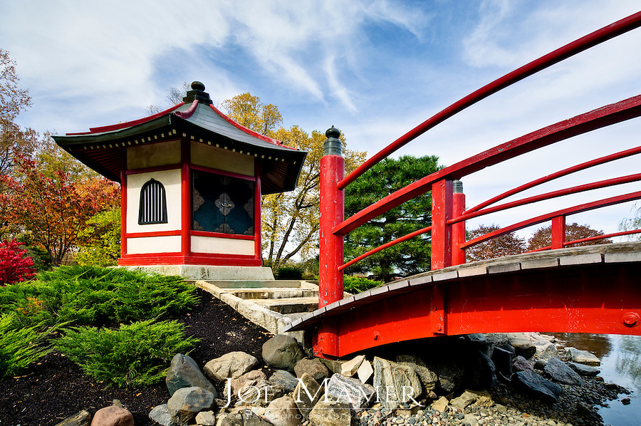 Pagoda and bridge at the Japanese garden at Normandale Community College in Bloomington, Minnesota. The garden was designed by Takao Watanabe, a professional garden architect from Tokyo, Japan and dedicated in 1976. Normandale Community College is part of the Minnesota State Colleges and Universities System.