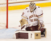 Thatcher Demko (BC - 30) - The Boston College Eagles defeated the visiting University of New Brunswick Varsity Reds 6-4 in an exhibition game on Saturday, October 4, 2014, at Kelley Rink in Conte Forum in Chestnut Hill, Massachusetts.