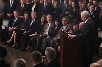 Former U.S. President George W. Bush, his wife former first lady Barbara Bush, former Florida Governor Jeb Bush and other members of the Bush family listen as Vice President Mike Pence speaks about former President George H.W. Bush during ceremonies in the U.S. Capitol Rotunda in Washington, U.S., December 3, 2018. <br /> CAP/MPI/RS<br /> &copy;RS/MPI/Capital Pictures