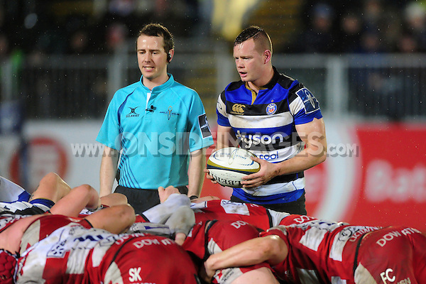 Chris Cook of Bath Rugby looks to put the ball into a scrum. Anglo-Welsh Cup match, between Bath Rugby and Gloucester Rugby on January 27, 2017 at the Recreation Ground in Bath, England. Photo by: Patrick Khachfe / Onside Images