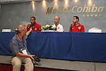 04 September 2008: U.S. head coach Bob Bradley (center) with players Oguchi Onyewu (left) and Carlos Bocanegra (right) during the press conference. The United States Men's National Team held a press conference at the Melia Cohiba Hotel in Havana, Cuba after arriving from the airport.