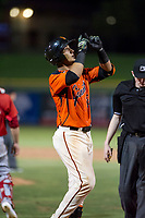 AZL Giants catcher Ricardo Genoves (15) celebrates after hitting a home run during a game against the AZL Angels on July 10, 2017 at Scottsdale Stadium in Scottsdale, Arizona. AZL Giants defeated the AZL Angels 3-2. (Zachary Lucy/Four Seam Images)