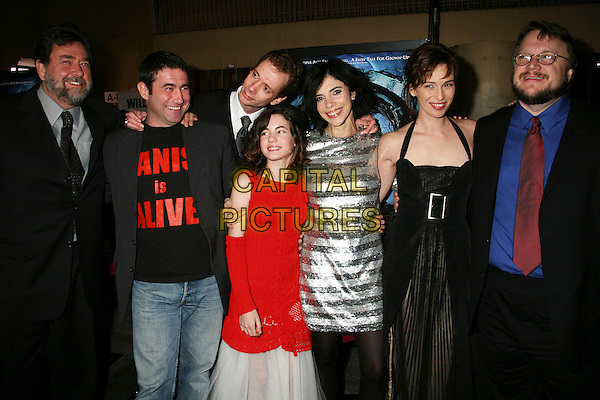 "GUILLERMO NAVARRO, SERGI LOPEZ, DOUG JONES, IVANA BAQUERO, MARIBEL VERDU, ARIADNA GIL & GUILLERMO DEL TORO.""Pan's Labyrinth"" Los Angeles Special Screening at Grauman's Egyptian Theatre, Hollywood, California, USA..December 18th, 2006.half length red dress black silver sequins sequined stripes striped halterneck.CAP/ADM/BP.©Byron Purvis/AdMedia/Capital Pictures"