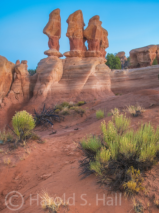 About 15 miles outside of the small Utah town of Escalante is the Garden of the Gods.  There are several magical stone figures.  These to me look like marching Snow White dwarfs.