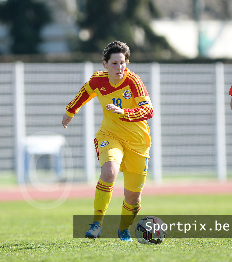 20150406 - OZOIR , FRANCE  : Romanian Demi Rus pictured during the soccer match between Women Under 19 teams of France and Romania , on the second matchday in group 3 of the UEFA Elite Round Women Under 19 at Stade des 3 Sapins , Ozoir La Ferriere , France . Monday 6th April 2015 . PHOTO DAVID CATRY