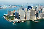 aerial view of Manhattan ferry terminal in financial district, t