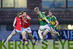 Barry John Walsh of Kerry goes for goal as Cork's Liam Jennings tries to stop him in the Munster U21 Football Championship Final held on Wednesday night in Pairc Ui Rinn Cork.