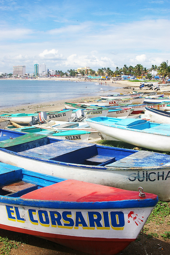 Boats on beach, Mazatlan, Mexico