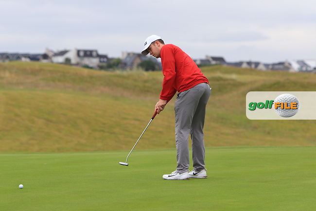 Harry Gillivan during Round 2 of the North of Ireland Amateur Open Championship 2019 at Portstewart Golf Club, Portstewart, Co. Antrim on Tuesday 9th July 2019.<br /> Picture:  Thos Caffrey / Golffile<br /> <br /> All photos usage must carry mandatory copyright credit (© Golffile | Thos Caffrey)