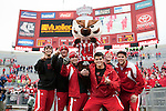 Wisconsin Badgers macot Bucky Bader and his crew celebrate a victory after an NCAA college football game against the Indiana Hoosiers on November 13, 2010 at Camp Randall Stadium in Madison, Wisconsin. The Badgers won 83-20. (Photo by David Stluka)