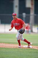 Philadelphia Phillies Jake Scheiner (4) during a Minor League Spring Training game against the Toronto Blue Jays on March 30, 2018 at Carpenter Complex in Clearwater, Florida.  (Mike Janes/Four Seam Images)