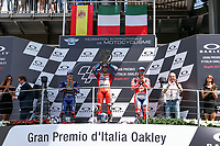 Ducati's Team rider Italian Andrea Dovizioso, winner, Maverick Vinales of Spain  and Movistar Yamaha MotoGP second, Danilo Petrucci of Italy and OCTO Pramac Racing third during the Moto GP Grand Prix at the Mugello race track on June 4, 2017 and Claudio Dominicali celebrates on the podium. <br /> MotoGP Italy Grand Prix 2017 at Autodromo del Mugello, Florence, Italy on 4th June 2017. <br /> Photo by Danilo D'Auria.<br /> <br /> Danilo D'Auria/UK Sports Pics Ltd/Alterphotos /NortePhoto.com
