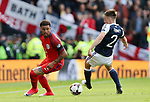 Scotland's Kieran Tierney tussles with England's Kyle Walker during the FIFA World Cup Qualifying match at Hampden Park Stadium, Glasgow Picture date 10th June 2017. Picture credit should read: David Klein/Sportimage