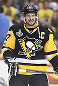 8th June 2017, Pittsburgh, PA, USA; Pittsburgh Penguins center Sidney Crosby (87) laughs during warms up before Game Five of the 2017 NHL Stanley Cup Final between the Nashville Predators and the Pittsburgh Penguins on June 8, 2017, at PPG Paints Arena