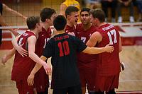STANFORD, CA - March 10, 2018: Leo Henken, Evan Enriques, Eli Wopat, Mason Tufuga at Burnham Pavilion. UC Irvine defeated the Stanford Cardinal, 3-0.