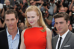 "Cannes,24.05.2012: NICOLE KIDMAN, MATHEW McCONAUGHEY AND ZAC EFRON.at ""The Paperboy""  photocall, 65th Cannes International Film Festival..Mandatory Credit Photos: ©Traverso-Photofile/NEWSPIX INTERNATIONAL..**ALL FEES PAYABLE TO: ""NEWSPIX INTERNATIONAL""**..PHOTO CREDIT MANDATORY!!: NEWSPIX INTERNATIONAL(Failure to credit will incur a surcharge of 100% of reproduction fees)..IMMEDIATE CONFIRMATION OF USAGE REQUIRED:.Newspix International, 31 Chinnery Hill, Bishop's Stortford, ENGLAND CM23 3PS.Tel:+441279 324672  ; Fax: +441279656877.Mobile:  0777568 1153.e-mail: info@newspixinternational.co.uk"