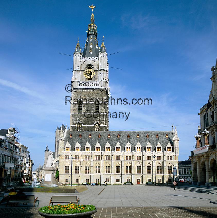 Belgium, Oost Vlaanderen, Ghent: The Belfry (Belfort) is UNESCO World Cultural Heritage Site | Belgien, Ostflandern, Gent: der Belfried von Gent ist heute UNESCO-Weltkulturerbe