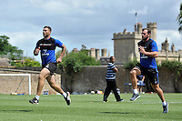 Matt Banahan and Luke Arscott of Bath Rugby in action. Bath Rugby training session on July 21, 2015 at Farleigh House in Bath, England. Photo by: Patrick Khachfe / Onside Images