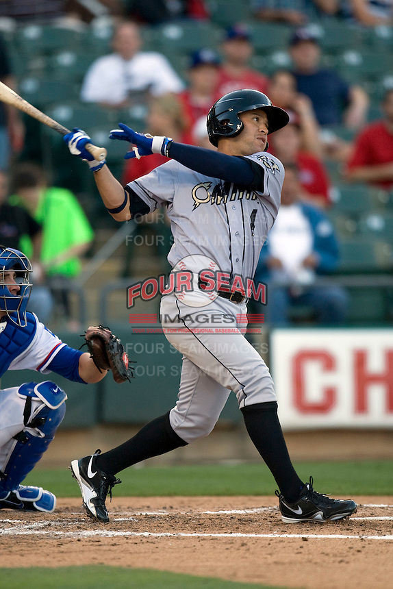 Omaha Storm Chaser outfield Gregor Blanco at bat against the Round Rock Express in Pacific Coast League baseball on Monday April 11th, 2011 at Dell Diamond in Round Rock Texas.  (Photo by Andrew Woolley / Four Seam Images)