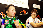 DURBAN - 23 February 2007 - Adrian Zaugg, 21, the driver for Team South Africa speaks to the media at the end of Day 1 at the A1 Grand Prix in Durban, French driver Loic Duval looks on..Picture: Giordano Stolley / Allied Picture Press