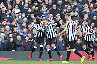 Celebrations after Dwight Gayle (9) of Newcastle United scores his goal 1 0 during the Premier League match between Chelsea and Newcastle United at Stamford Bridge, London, England on 2 December 2017. Photo by David Horn.